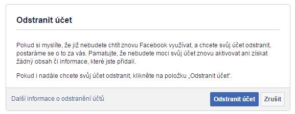 Takto vypadá okno s nabídkou zrušení profilu na Facebook.